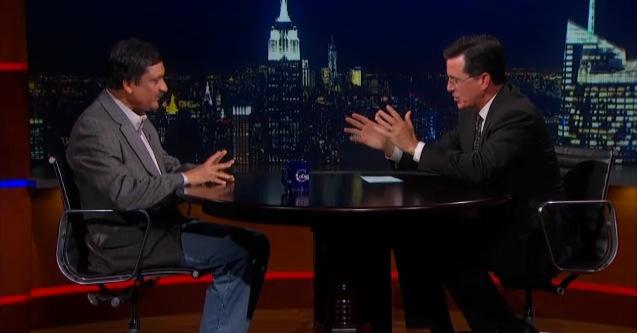 Anant Agarwal and Stephen Colbert talking.
