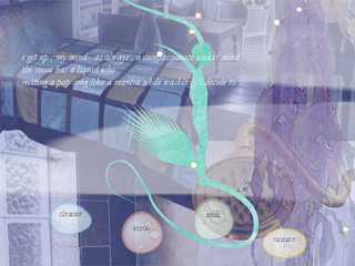 A multilayered image of forms and text.