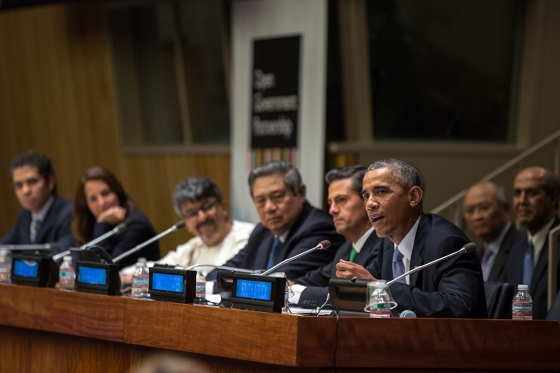 Photo of Barack Obama speaking at a meeting.