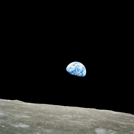 Photo of half-illuminated Earth taken from the moon.