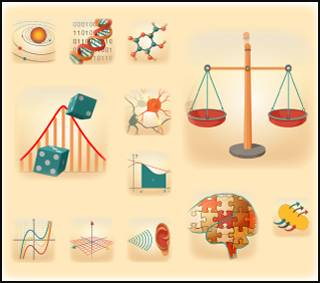 Illustrated icons of graphs, neurons, and molecules.