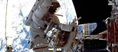 Photo of an astronaut in a spacewalk.