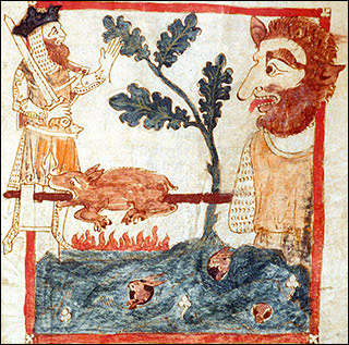 Drawing of a king meeting a giant who is roasting a pig on a spit.