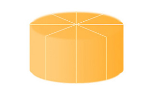 A cylinder shape cut into eight equal-sized wedge-shaped pieces, with four vertical cuts through the center.