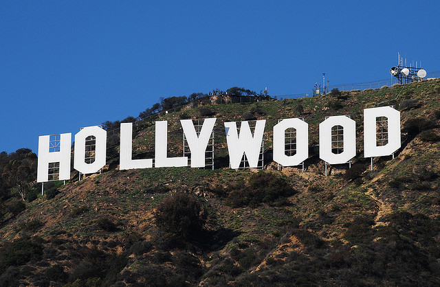 """Photo of the famous """"Hollywood"""" sign on the hillside outside of Hollywood."""