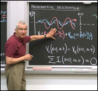 Professor in front of chalkboard with graph of vibration and equations.