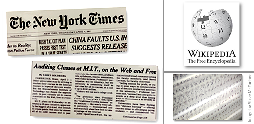 Image of New York Times headline about OCW announcement, alongside Wikipedia logo and an image of DNA sequences on a computer screen.