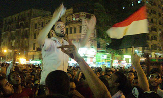 In 2012, hundreds of thousands gathered in Tahrir Square in Cairo to protest the verdicts in the trial of former Egyptian President Hosni Mubarek. (Image courtesy of Lorenz Khazaleh on Flickr. Available CC BY-NC-SA.)