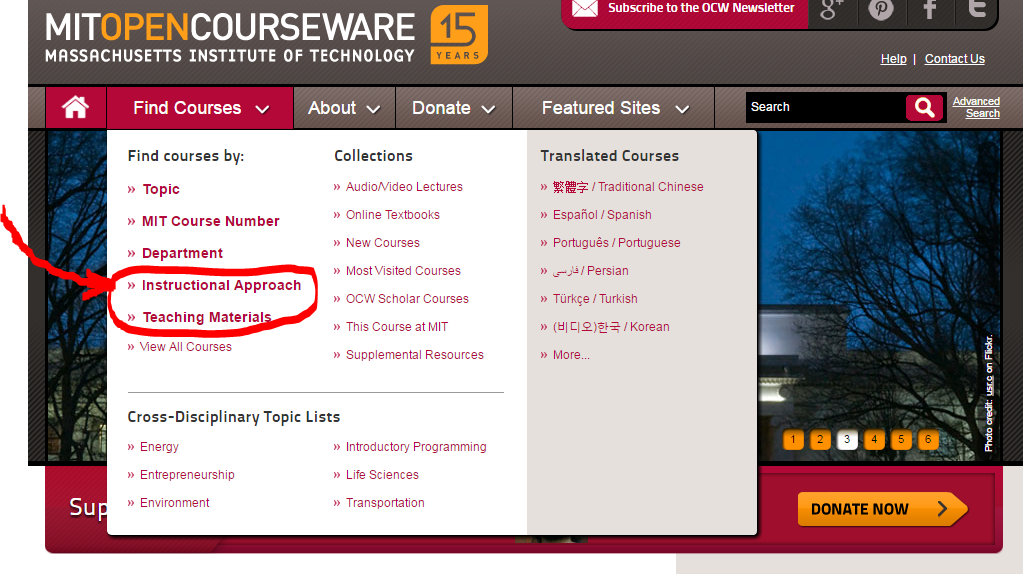 """Screenshot of """"Find Courses"""" megamenu, highlighting new links to courses by Instructional Approach and Teaching Materials."""