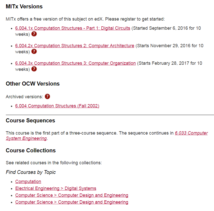 Screenshot of OCW page, with links to MITx versions, archived OCW version, course sequence info and related course collections.