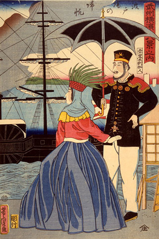 A painting with a man and a woman standing at the pier with a sail boat in the background, and the man is holding a parasol.