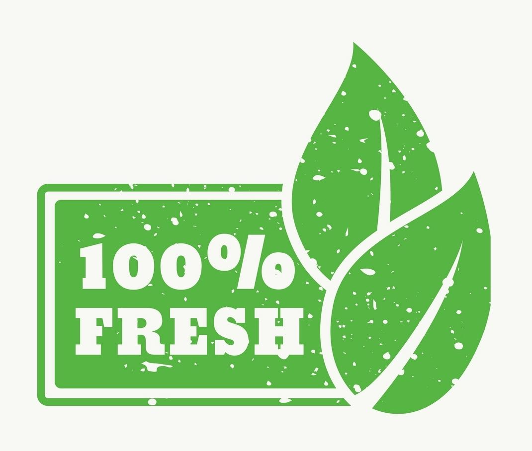 """Graphic that reads """"100% Fresh."""""""