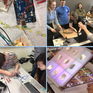 Collage of four photos showing students working on and showing their electronics systems.