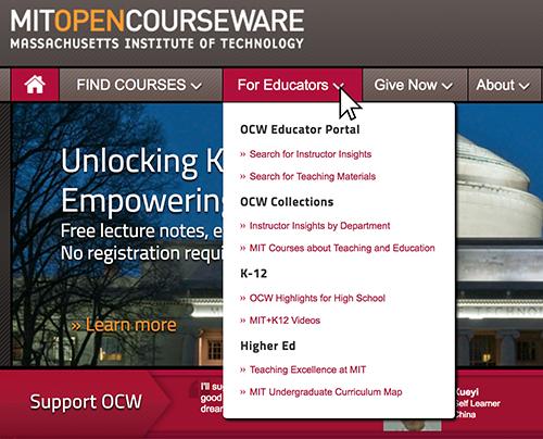 "Screenshot of OCW homepage, with ""For Educators"" dropdown menu exposed."