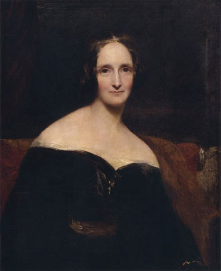Painted portrait of woman seated in front of a dark background.