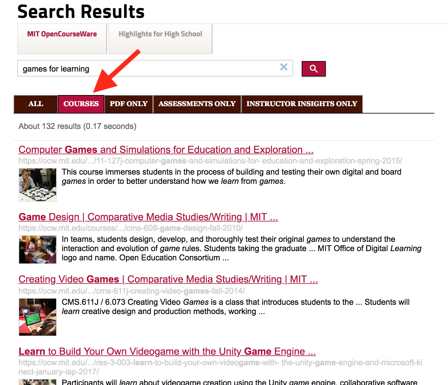 """Screenshot of search results for """"games for learning,"""" set to display courses."""