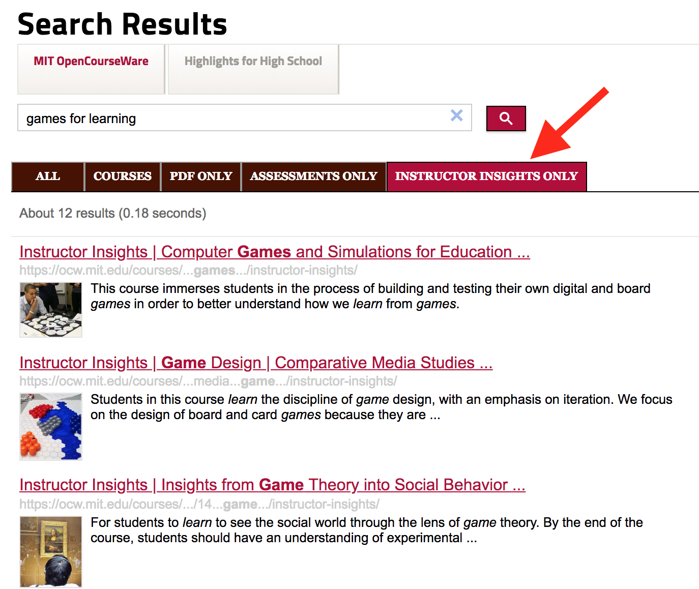 """Screenshot of search results for """"games for learning,"""" set to display instructor insights."""