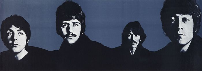 Artistic rendering of the band members. Dark blue background; faces and torsos in black and white.