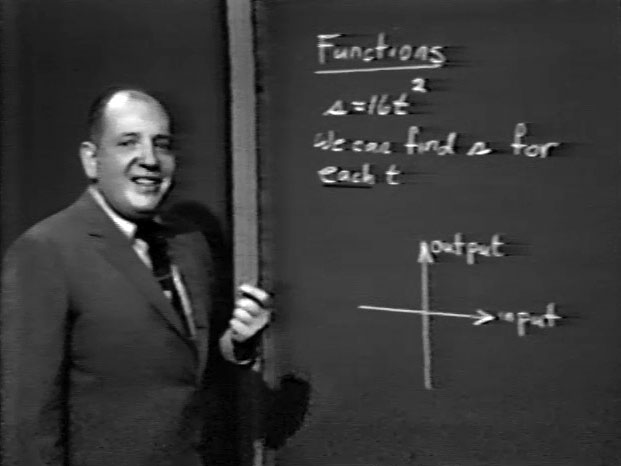 a middle-age man standing in front of a blackboard with mathematical figures on it.