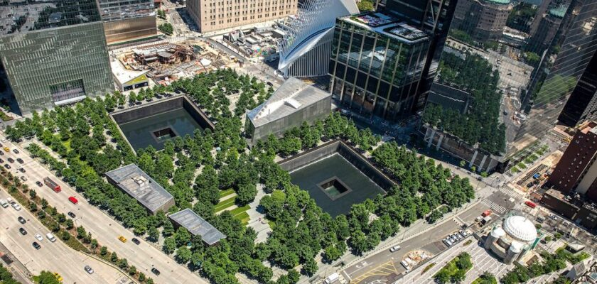 Aerial photo of the NYC 9/11 Memorial, at the location of the World Trade Center.